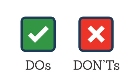 Do and Don't or Good and Bad Icons w Positive and Negative Symbols Ilustração