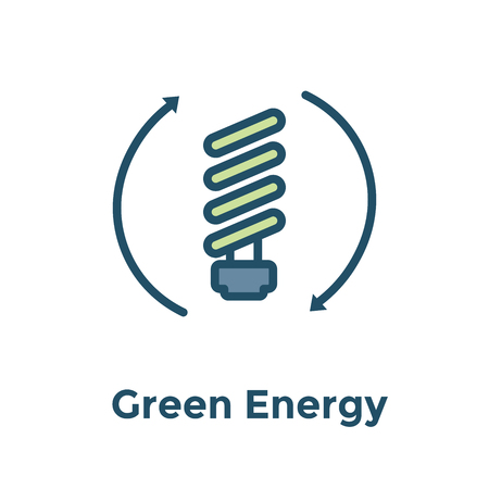 Green Energy icon showing recyclable lightbulb  clean energy solution