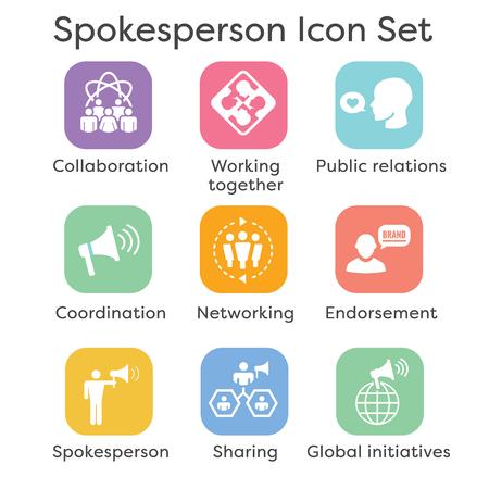 Icône de porte-parole sertie de mégaphone, de coordination et de relations publiques
