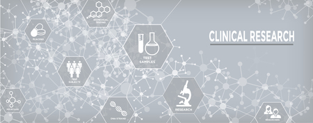 Medical Healthcare Icons w People Charting Disease or Scientific Discovery Web Header Banner