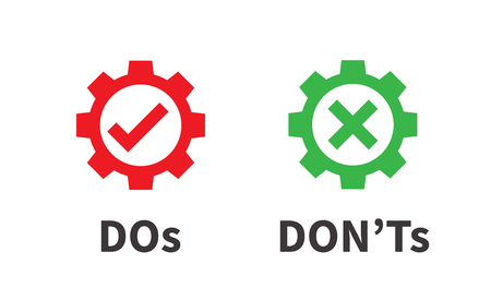 Do and Dont or Good and Bad Icons w Positive and Negative Symbols Stock Illustratie