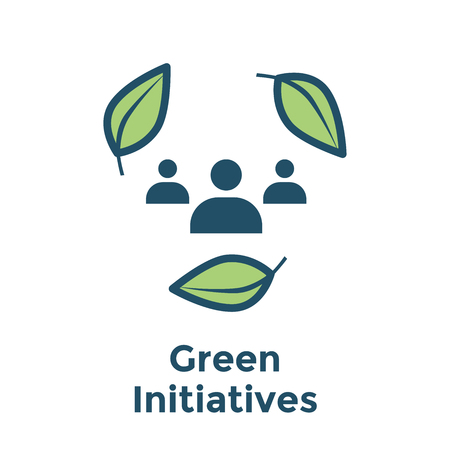 Green Initiatives Energy icon w people working together to achieve clean energy solution