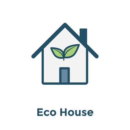 Green Initiatives Ecohouse icon with eco friendly house / plant icon