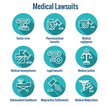 Medical Lawsuits with Pharmaceutical, negligence, and medical malpractice icon set Reklamní fotografie - 100903763