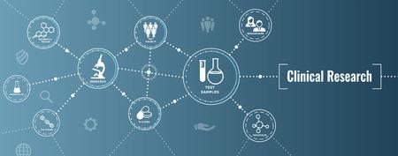 의료 의료 아이콘 w 사람들이 차트 질병 또는 과학적 발견 웹 헤더 배너