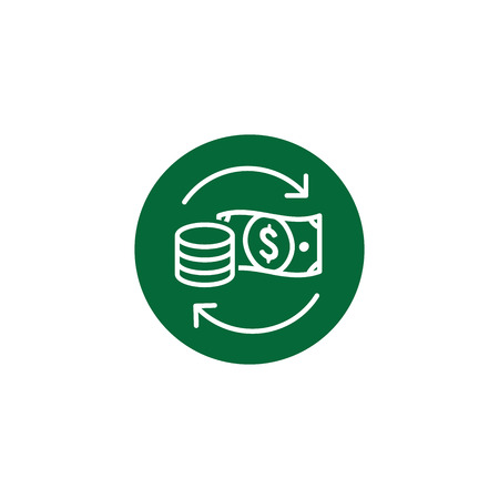 Currency Circulation or money exchange rate icon with dollar bill
