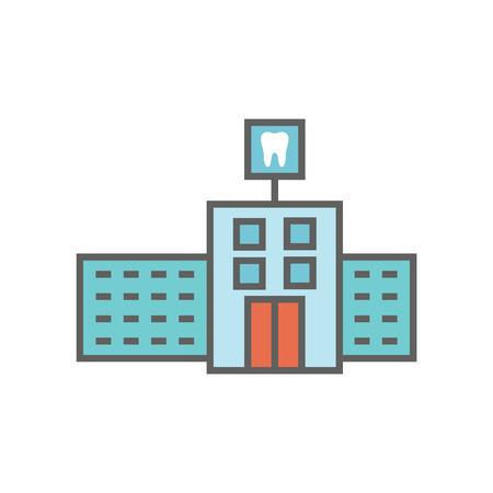 Dentist location icon w dental images, dental building with windows Illusztráció