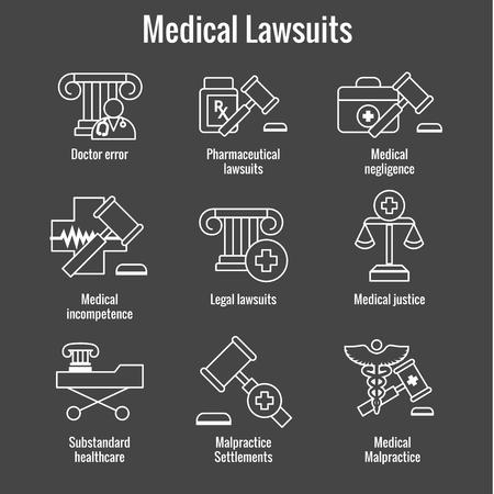 Poursuites médicales avec jeu d'icônes pharmaceutique, négligence et faute professionnelle médicale Vecteurs
