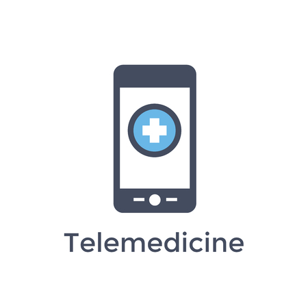 Telemedicine phone icon w healthcare or medicine imagery showing medical record idea