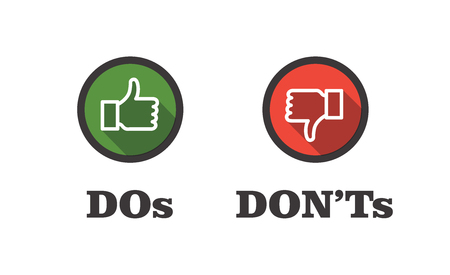 Do and Don't or Like and Unlike Icons Foto de archivo - 101263063