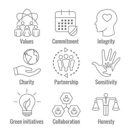 Social Responsibility Outline Icon Set Çizim