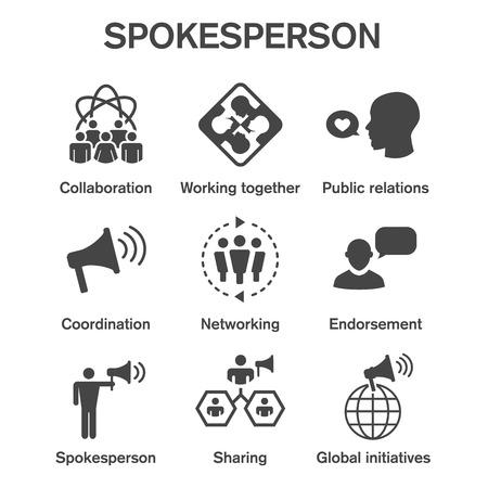 Spokesperson icon set w bullhorn, coordination, pr, public relations person set