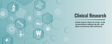 Medische gezondheidszorgpictogrammen w Mensen die ziekte of wetenschappelijke ontdekking in kaart brengen, koptekst op het web Vector Illustratie