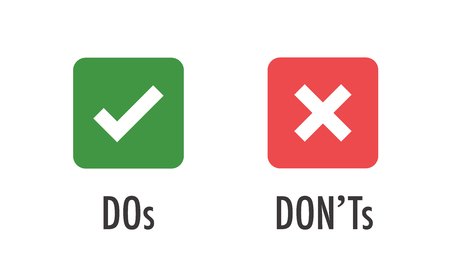 Do and Don't or Good and Bad Icons w Positive and Negative Symbols Vettoriali