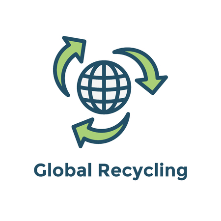 Green Energy icon shows global recycling efforts / clean energy solution Foto de archivo - 101721993
