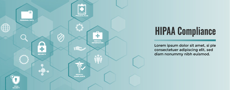 HIPPA Compliance web banner header w Medical Icon Set and text Illustration