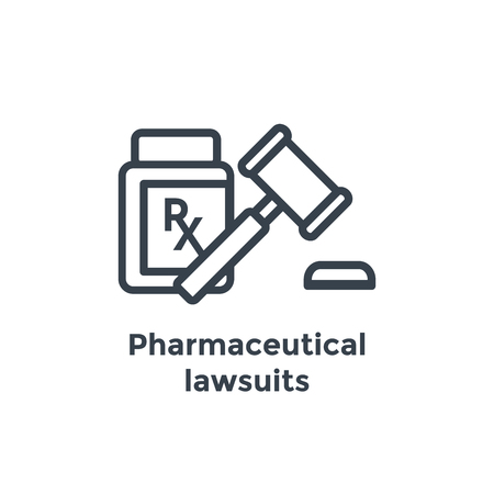 Medical Lawsuit icon with legal imagery showing medical malpractice - outline style Stock Vector - 101656854