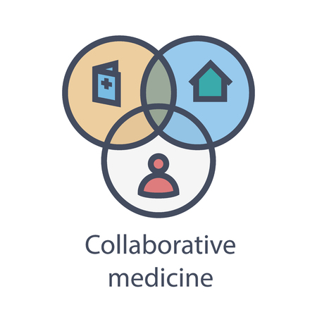 Collaborative medicine w EHR, PHR, or EMR - doctors, patients, and hospital communication Stock Illustratie