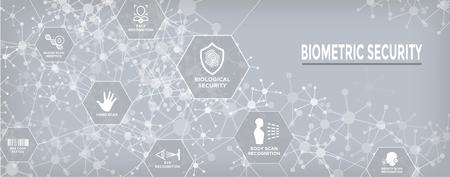 Biometric Scanning Web Banner w DNA, fingerprint, voice scan, tattoo barcode, etc Фото со стока - 102021355