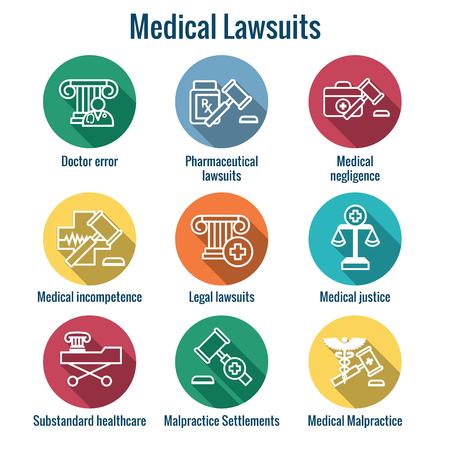 Medical Lawsuits with Pharmaceutical, negligence, and medical malpractice icon set Stock Vector - 102161987