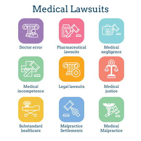 Medical Lawsuits with Pharmaceutical, negligence, and medical malpractice icon set