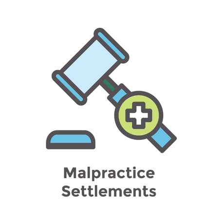 Medical Lawsuit icon with legal imagery showing medical malpractice - outline style Stock Vector - 102161990