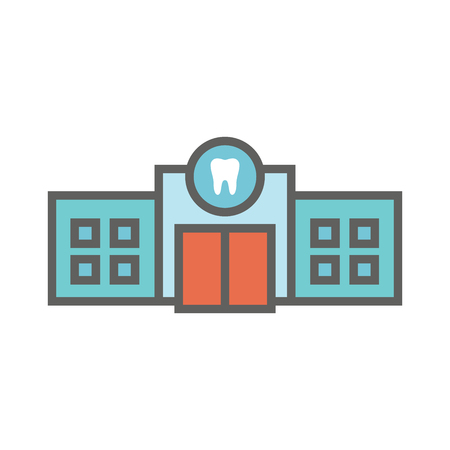 Dentist location icon w dental images, dental building with windows Ilustracja