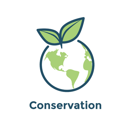 Global environmental conservation icon with earth & leaf icon