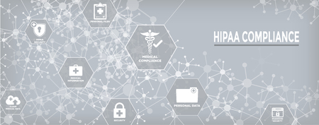 HIPPA Compliance web banner header w Medical Icon Set and text Ilustrace