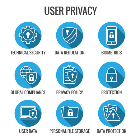GDPR & Privacy Policy Icon Set with locks, padlocks and shields