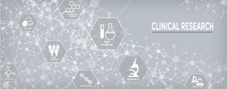 Icônes de soins de santé médicaux w personnes cartographiant la maladie ou la découverte scientifique bannière d'en-tête Web
