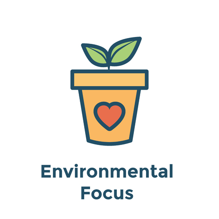 Environmental focus concerns icon with potted plant and leaf & heart