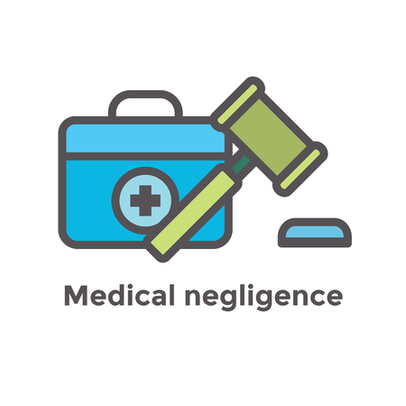 Medical Lawsuit icon with legal imagery showing medical malpractice - outline style