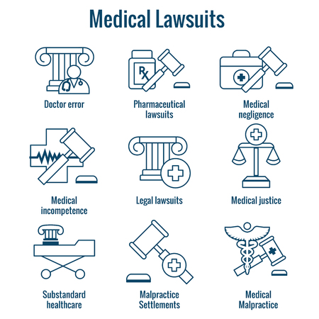 Medical Lawsuits with Pharmaceutical, negligence, and medical malpractice icon set Stock Vector - 102809975