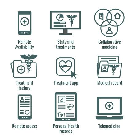 Ensemble d'icônes de télémédecine et de dossiers de santé w Caducée, dossiers de fichiers, ordinateurs, etc.