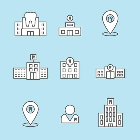 Dentist location icon set w dental images, dental building with windows Illusztráció