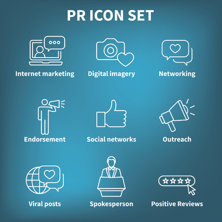 Brand Ambassador & Spokesperson Icon Set with Networking, Social, and bullhorn images  イラスト・ベクター素材