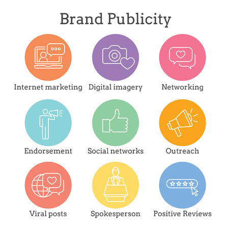 Brand Ambassador & Spokesperson Icon Set with Networking, Social, and bullhorn images Illustration