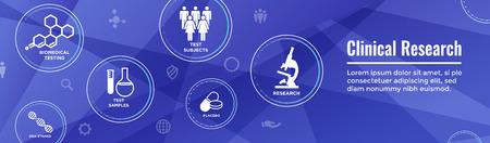 Icone di assistenza sanitaria medica con persone che tracciano malattie o banner di intestazione Web di scoperta scientifica Vettoriali