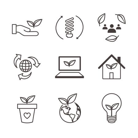 Environmental concerns icon set with lightbulb, hand holding leaf, recycling, etc. Reklamní fotografie - 103329205