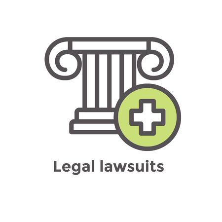 Medical Lawsuit icon with legal imagery showing medical malpractice - outline style Stock Vector - 103329351