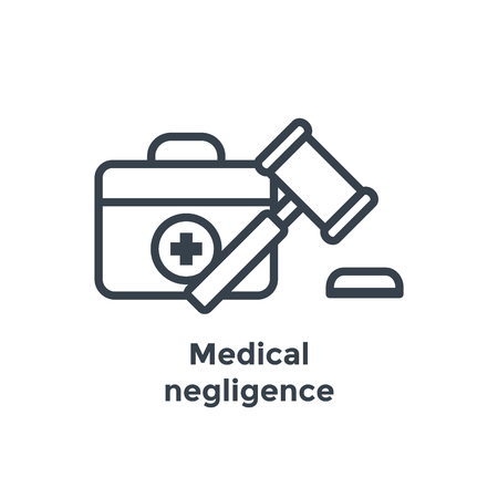Medical Lawsuit icon with legal imagery showing medical malpractice - outline style Stock Vector - 103329352