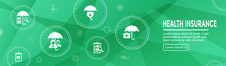 Health insurance Web Banner w Umbrella icon set with medical icons Vettoriali