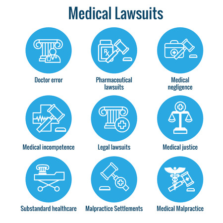 Medical Lawsuits with Pharmaceutical, negligence, and medical malpractice icon set Stock Vector - 103853322