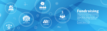 People Working Together - Fund Different Online Ideas with Money Icon Set Web Header banner Stock Illustratie