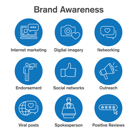 Brand Ambassador & Spokesperson Icon Set with Networking, Social, and bullhorn images Illusztráció