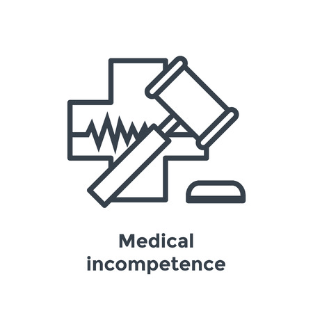 Medical Lawsuit icon with legal imagery showing medical malpractice - outline style 写真素材 - 103790935