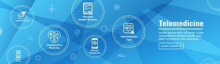 Banner de cabecera de telemedicina para web: conjunto de iconos con telesalud, ehr, phr y emr