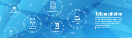 Banner di intestazione di telemedicina per il web - set di icone con telemedicina, ehr, phr e emr