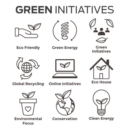 Environmental concerns icon set with lightbulb, hand holding leaf, recycling, etc.